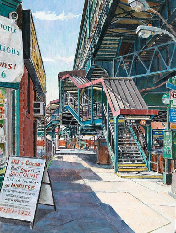 Michael Stasinos, 18th Avenue Station, , oil on panel, 16 x 12. Available.