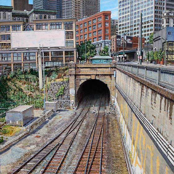 Michael Stasinos, Great North Tunnel, oil on panel, 18 x 18. Sold.