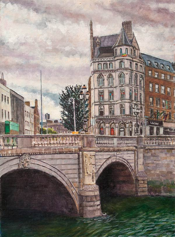 O'Connell Bridge, Dublin, oil on canvas mounted to board, 8.5 x 11