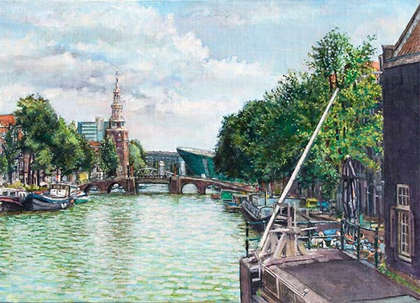 Montelbaanstoren, Amsterdam, oil on canvas mounted to panel,  9.25 x 13